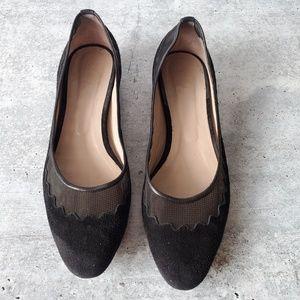 Chloe Suede & Mesh Scalloped Black Flats 39.5